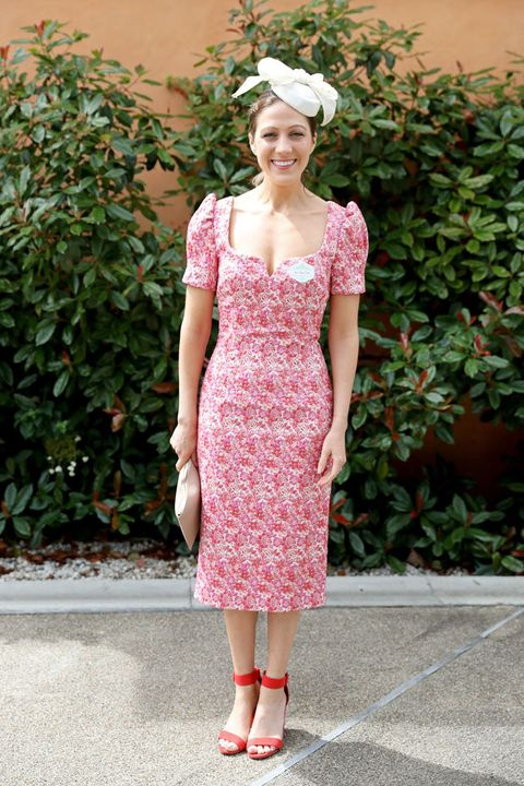 Clothing, Pink, Dress, Day dress, Footwear, Fashion, Shoulder, Pattern, Headgear, Shoe,