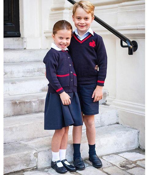 Clothing, Photograph, Blue, Uniform, School uniform, Child, Snapshot, Outerwear, Fashion, Footwear,