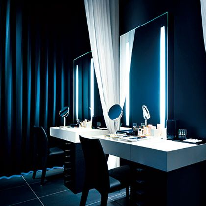Blue, Room, Light, Interior design, Lighting, Furniture, Curtain, Architecture, Design, Material property,