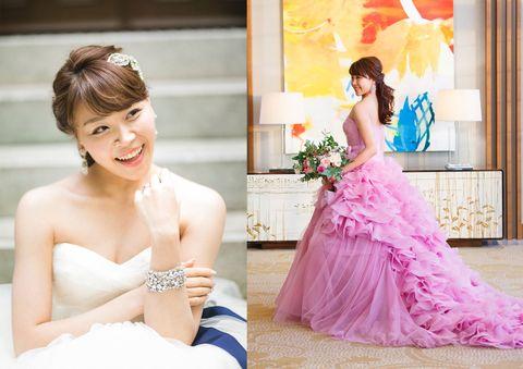 Gown, Dress, Bride, Photograph, Pink, Shoulder, Wedding dress, Clothing, Yellow, Purple,