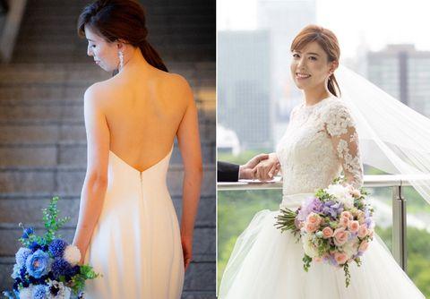 Bride, Gown, Dress, Wedding dress, Photograph, Clothing, Shoulder, Bridal clothing, Bridal party dress, Purple,