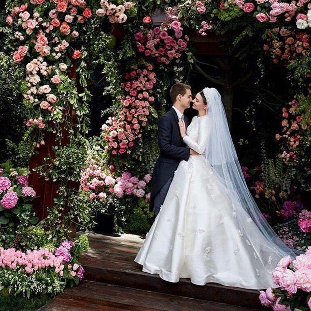 Wedding dress, Gown, Dress, Bride, Pink, White, Clothing, Photograph, Bridal clothing, Flower Arranging,