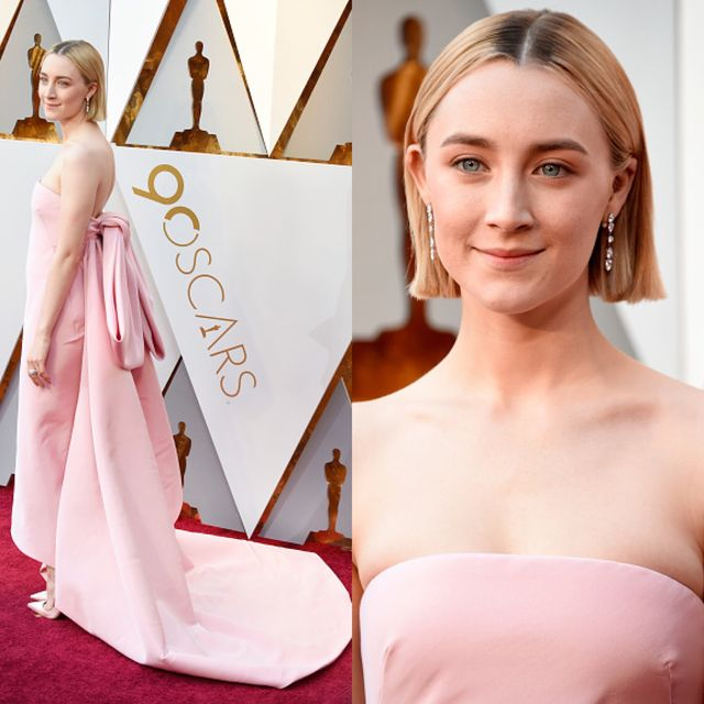Hair, Dress, Pink, Hairstyle, Gown, Shoulder, Beauty, Skin, Carpet, Red carpet,