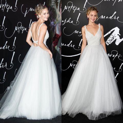 Gown, Clothing, Dress, Wedding dress, Shoulder, Bridal party dress, Bridal clothing, A-line, Fashion model, Formal wear,
