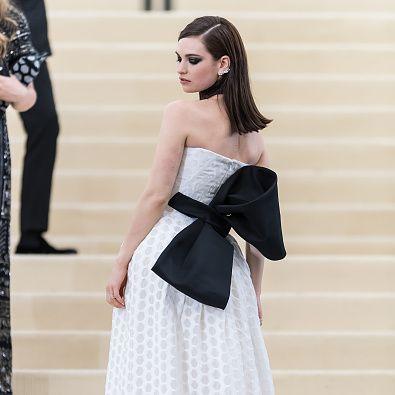 Clothing, Dress, Fashion model, Gown, White, Shoulder, Strapless dress, Bridal party dress, Fashion, Haute couture,