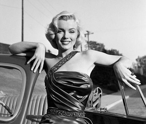 Motor vehicle, Black-and-white, Retro style, Photography, Hood, Vehicle, Shoulder, Car, Smile, Blond,