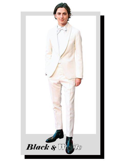 Clothing, White, Suit, Outerwear, Beige, Blazer, Footwear, Fashion, Formal wear, Neck,