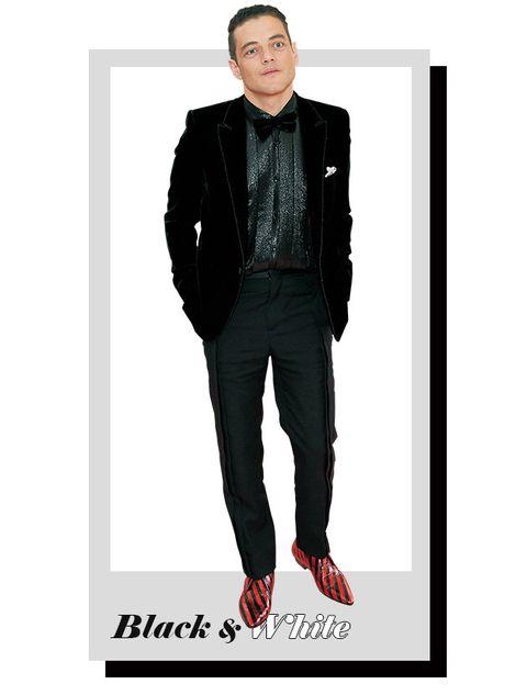 Clothing, Suit, Black, Jeans, Formal wear, Outerwear, Denim, Jacket, Blazer, Footwear,