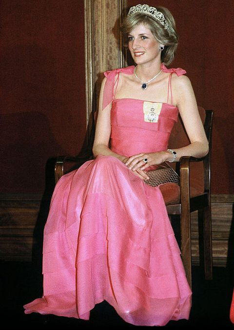 Pink, Clothing, Dress, Gown, Fashion, Formal wear, Headpiece, Peach, Costume design, Costume,