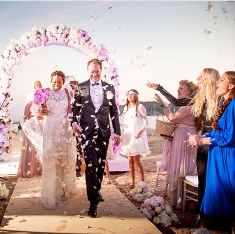 Ceremony, Event, Pink, Formal wear, Fashion, Dress, Wedding, Gown, Bride, Fashion design,