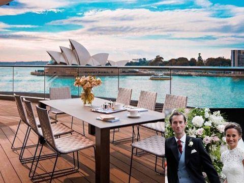 Turquoise, Room, Table, Sky, Aqua, Luxury yacht, Real estate, Furniture, Restaurant, Interior design,