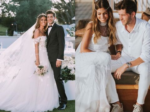 Wedding dress, Bride, Gown, Photograph, Dress, White, Bridal clothing, Clothing, Ceremony, Formal wear,