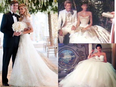 Gown, Wedding dress, Bride, Dress, Clothing, Photograph, Bridal clothing, Bridal party dress, Shoulder, Formal wear,