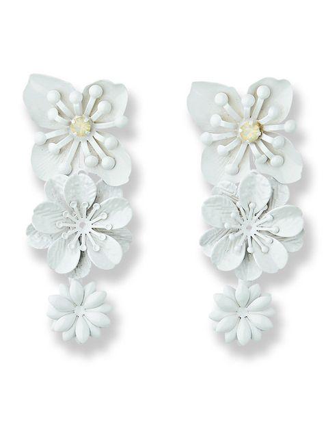 Earrings, Petal, Fashion accessory, Jewellery, Body jewelry, Silver,