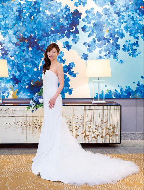 Gown, Bride, Dress, Wedding dress, Clothing, Blue, Shoulder, Bridal clothing, Strapless dress, Bridal party dress,