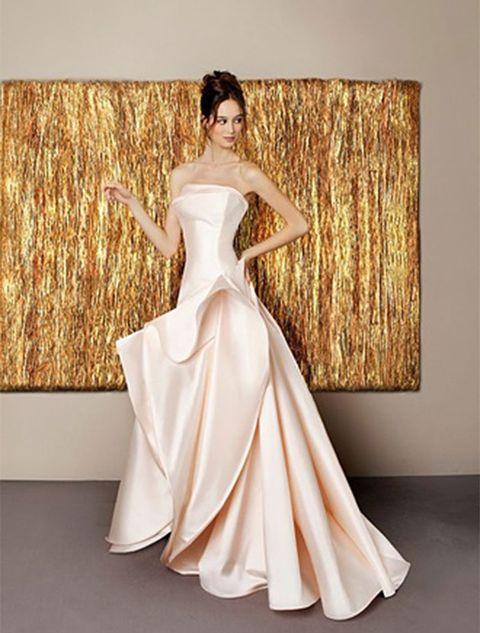 Clothing, Dress, Shoulder, Textile, Bridal clothing, Gown, Formal wear, One-piece garment, Wedding dress, Bridal party dress,