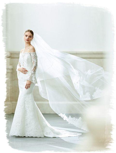 Gown, Wedding dress, Dress, Clothing, Bride, Shoulder, Bridal party dress, Bridal clothing, Photograph, Bridal accessory,