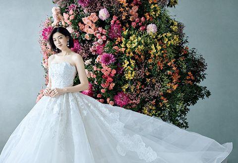 Gown, Wedding dress, Dress, Bride, Clothing, Shoulder, Photograph, Pink, Bridal clothing, White,