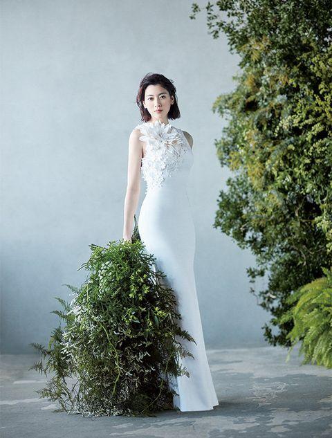 Wedding dress, Gown, Dress, Clothing, Photograph, White, Bridal clothing, Shoulder, Bride, Bridal party dress,