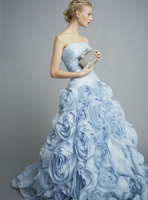 Clothing, Blue, Dress, Sleeve, Shoulder, Gown, Bridal clothing, Strapless dress, Wedding dress, Formal wear,