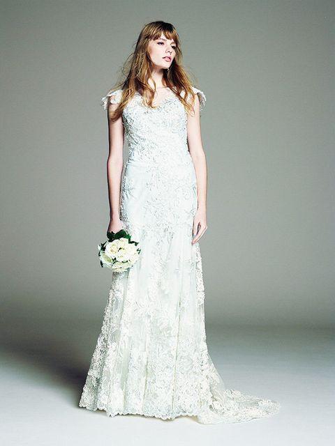 Gown, Clothing, Fashion model, Dress, Wedding dress, Bridal party dress, White, Bridal clothing, Shoulder, Waist,