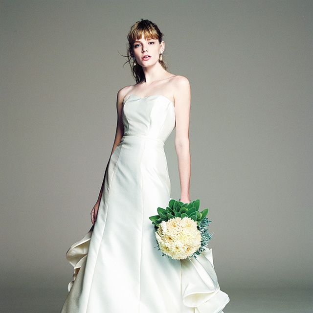 Gown, Wedding dress, Dress, Clothing, Fashion model, Bride, Bridal party dress, Bridal clothing, Photograph, Shoulder,