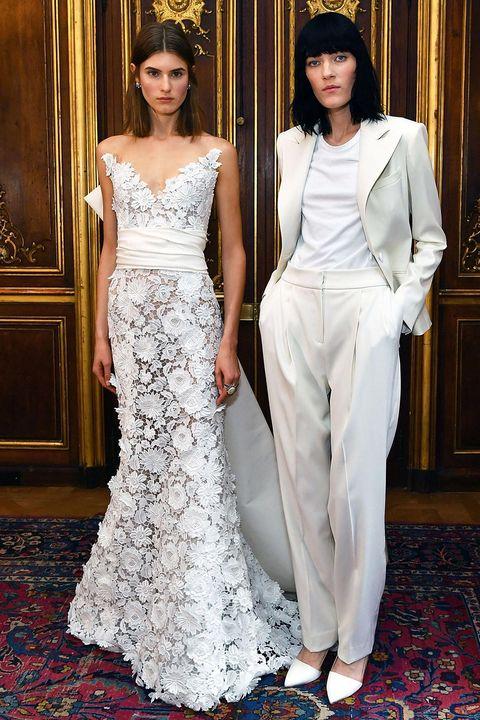 Clothing, Gown, Dress, Wedding dress, White, Fashion model, Bridal clothing, Fashion, Haute couture, Bride,