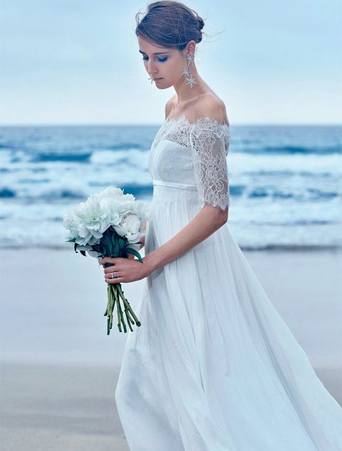 Wedding dress, Gown, Dress, Clothing, Bride, Shoulder, White, Photograph, Bridal clothing, Bridal party dress,