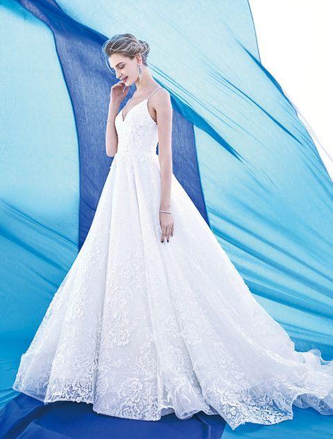 Gown, Wedding dress, Dress, Clothing, Fashion model, Shoulder, Bridal party dress, Bridal accessory, Bridal clothing, Blue,