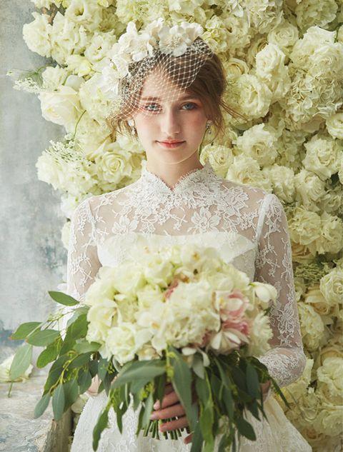Flower, Bouquet, Cut flowers, Wedding dress, Dress, Flower Arranging, Bride, Plant, Gown, Floral design,