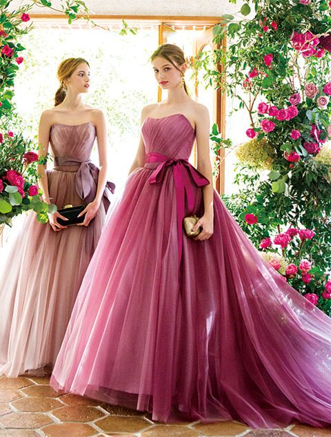 Gown, Dress, Clothing, Bridal party dress, Shoulder, Pink, Formal wear, A-line, Bridal clothing, Strapless dress,