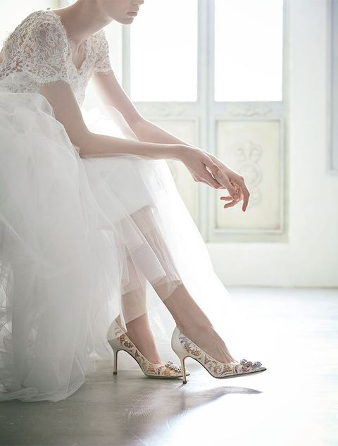 White, Wedding dress, Clothing, Dress, Bridal clothing, Footwear, Gown, Beauty, Leg, Bride,