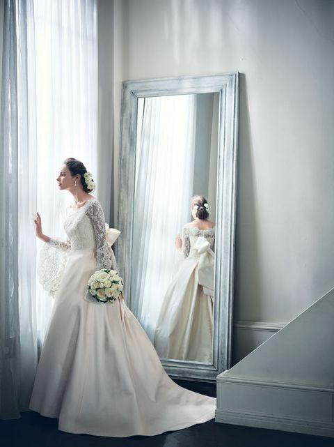 Bride, Wedding dress, Gown, Dress, Photograph, Bridal clothing, Clothing, Bridal accessory, Bridal party dress, Shoulder,