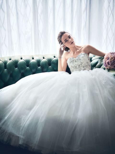 Gown, Wedding dress, Dress, Clothing, Bride, Photograph, Bridal clothing, Bridal party dress, Shoulder, Beauty,