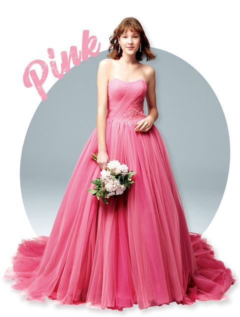 Gown, Dress, Clothing, Bridal party dress, Pink, Shoulder, Formal wear, Strapless dress, A-line, Fashion model,