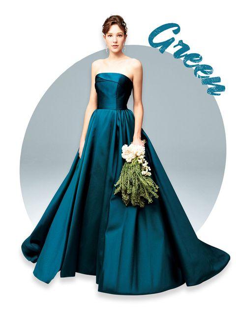 Gown, Clothing, Dress, Fashion model, Bridal party dress, Shoulder, Formal wear, Blue, Strapless dress, Green,