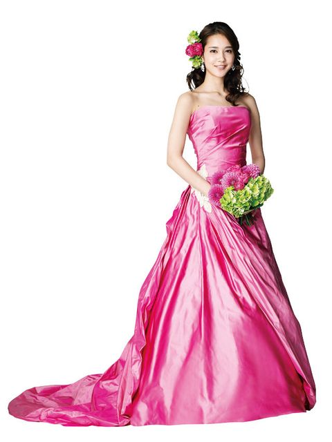 Clothing, Dress, Textile, Magenta, Pink, Purple, Gown, Formal wear, Costume, Satin,