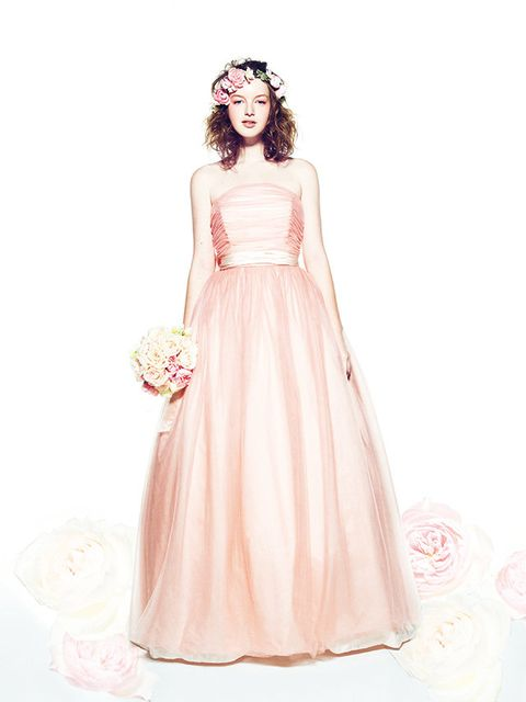 Clothing, Dress, Sleeve, Shoulder, Textile, White, Peach, Pink, One-piece garment, Formal wear,