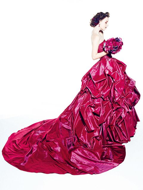 Gown, Dress, Clothing, Pink, Red, Magenta, Purple, Strapless dress, Satin, Formal wear,