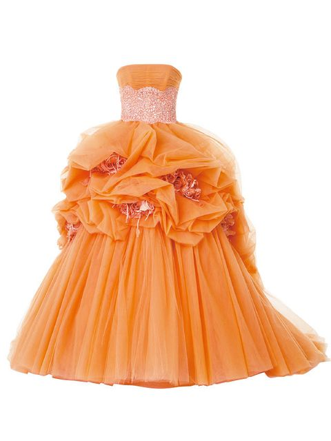 Dress, Clothing, Orange, Yellow, Strapless dress, Peach, Cocktail dress, Bridal party dress, Gown, A-line,
