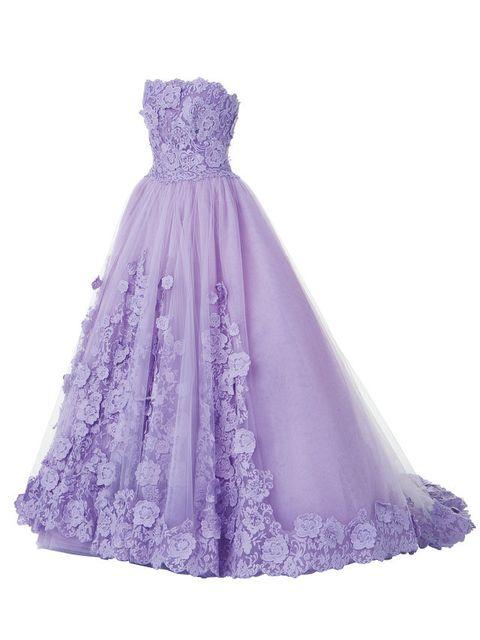 Clothing, Dress, Gown, Purple, Bridal party dress, Violet, Lilac, Strapless dress, A-line, Shoulder,