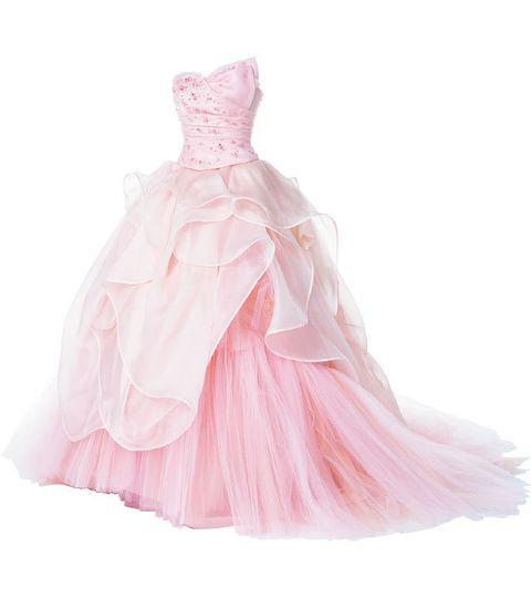 Textile, Pink, Peach, Dress, Magenta, One-piece garment, Day dress, Embellishment, Satin, Costume design,