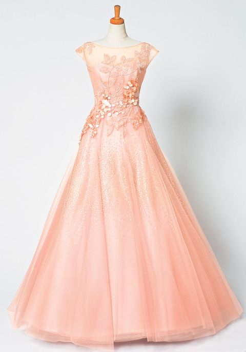 Clothing, Dress, Shoulder, Peach, Orange, Textile, Pink, Red, One-piece garment, Formal wear,