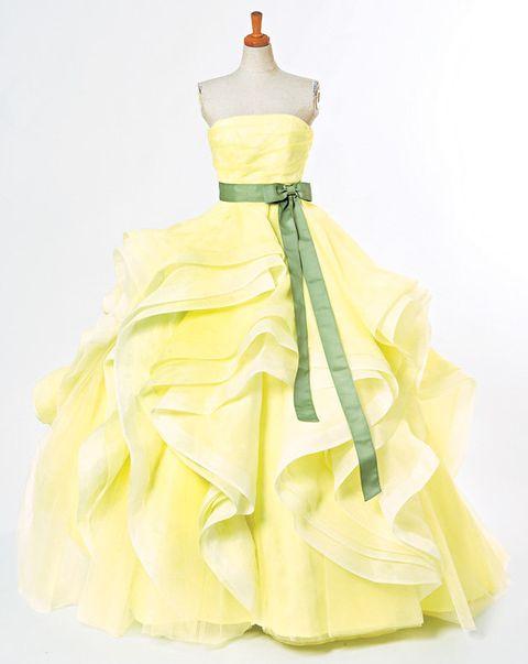 Yellow, Dress, Costume design, One-piece garment, Gown, Fashion, Day dress, Satin, Embellishment, Ruffle,