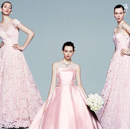 Gown, Clothing, Fashion model, Dress, Shoulder, Pink, Bridal party dress, Wedding dress, Bride, A-line,