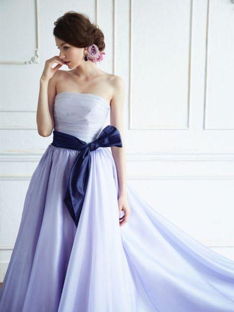 Gown, Dress, Clothing, Bridal party dress, Shoulder, Wedding dress, Purple, Fashion model, Bridal clothing, Strapless dress,