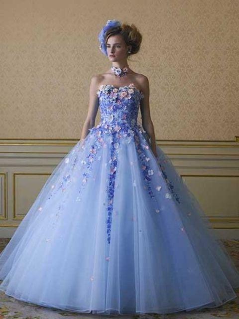 Gown, Clothing, Dress, Blue, Wedding dress, Bridal party dress, Formal wear, Shoulder, Bridal clothing, Bridal accessory,