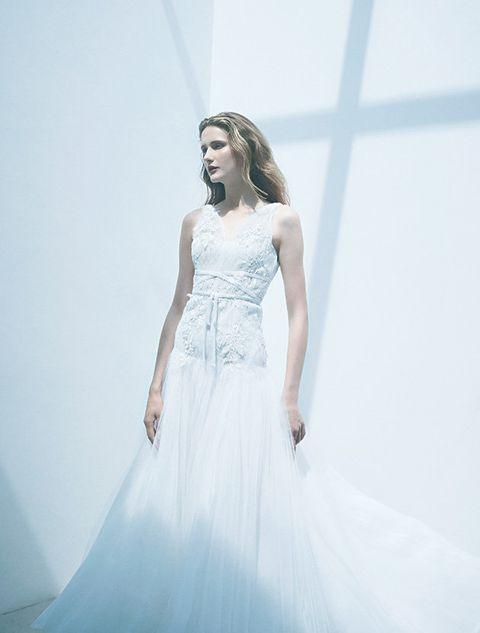 Gown, Wedding dress, Clothing, Dress, Fashion model, Shoulder, Photograph, Bridal clothing, Bride, Bridal party dress,