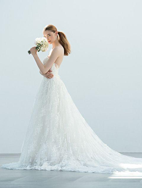 Gown, Wedding dress, Dress, Clothing, Bride, Photograph, Shoulder, Bridal clothing, Bridal party dress, White,