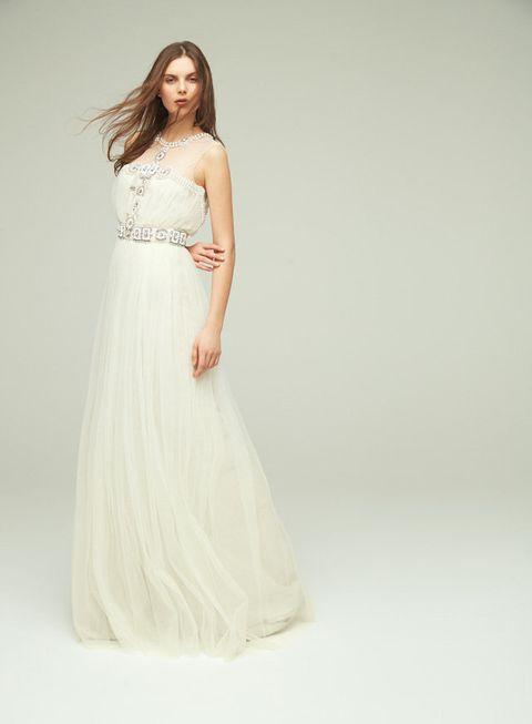 Gown, Clothing, Dress, Fashion model, Shoulder, Wedding dress, White, Bridal party dress, Waist, Bridal clothing,